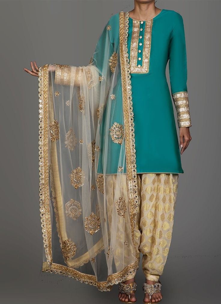 Teal and Golden Cream Brocade Punjabi Suit