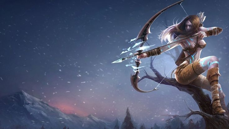 лучница, девушка, снег, горы, дерево, лук, лед, league of legends 1920x1080