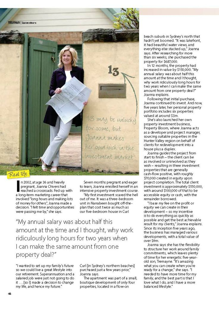 Your Investment Property magazine - Investor Profile: Jo Chivers, by Sarah.