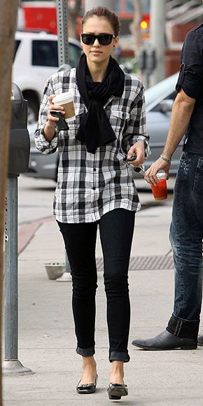 Jessica Alba is casual cool in an oversized plaid shirt, chunky scarf, cuffed jeans and patent flats. Which piece is under $100? | Jessica Alba