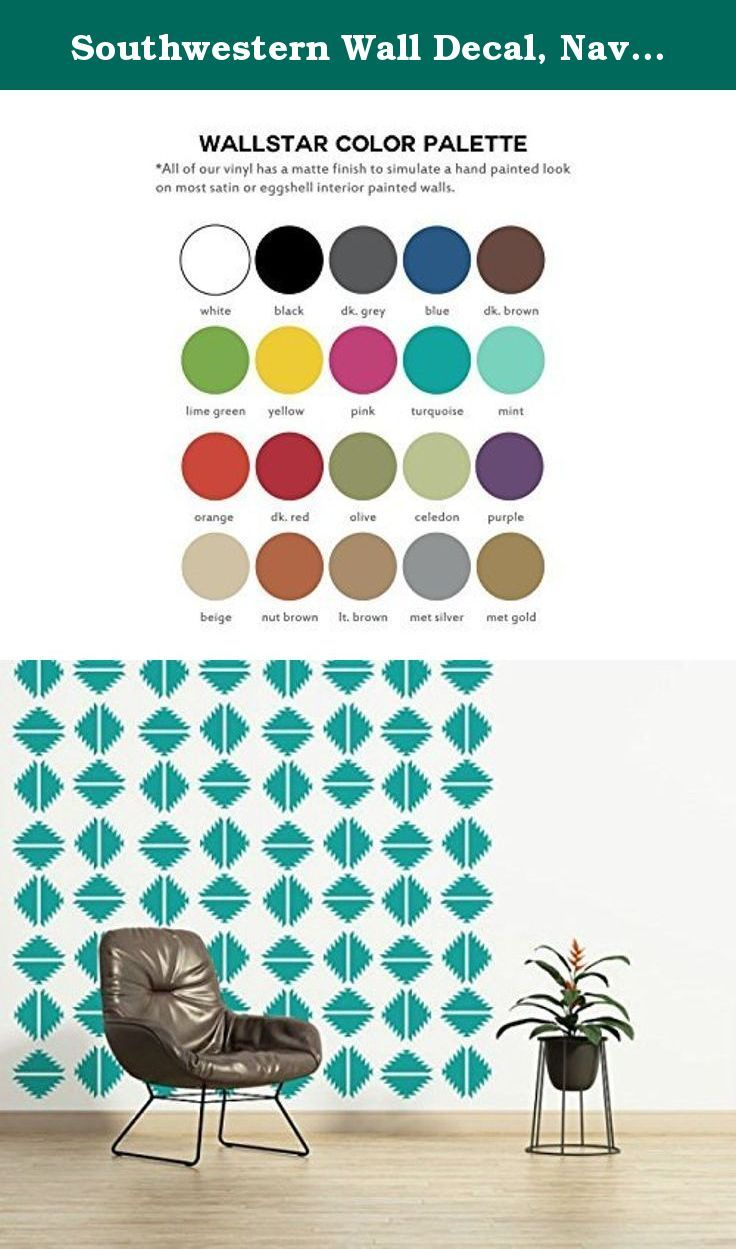 """Southwestern Wall Decal, Navajo Wall Decal, Southwestern Wall Decor, Geometric Wall Pattern, Diamond Wall Decal, Modern Wall Art. THIS SET INCLUDES (3) PANELS THAT MEASURES 21"""" X 84"""". Each panel contains 16 individual shapes (2 rows) but will come prearranged as shown for easy installation. Each individual shape measures 9"""". Need additional panels to complete your project? Contact us for add on pricing. NOTE: Wall decal shown in Turquoise."""