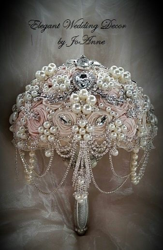 All pale Blush Pink Jeweled Bouquet as pictured with added pearl and double Rhinestone cascading in the front - Rush by Elegantweddingdecor on Etsy