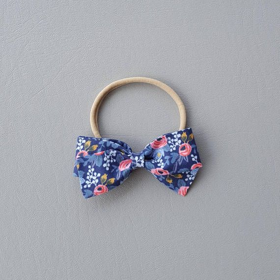 Rifle Paper Navy Sailor Hair Bow Bow Headband Nylon