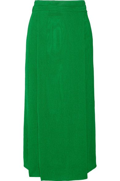 PROTAGONIST Plissé-crepe wrap-effect midi skirt. #protagonist #cloth #skirts