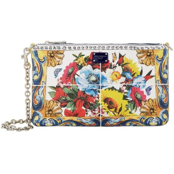 Dolce & Gabbana Mini Floral Clutch Bag (25,455 DOP) ❤ liked on Polyvore featuring bags, handbags, clutches, genuine leather purse, leather clutches, mini handbags, real leather purses and floral print handbags