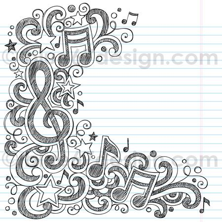 Music Notes Sketchy Doodle Vector Illustration by blue67design