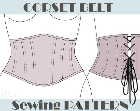PATRON de CORSET Underbust ceinture. Taille S par Dresslikeprincess                                                                                                                                                                                 Plus