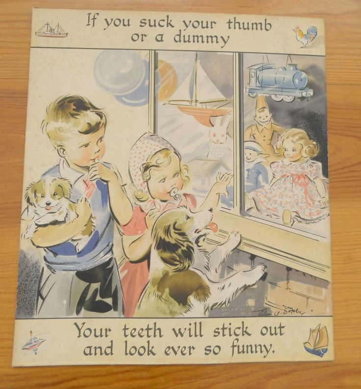 An illustration on board by Eileen A Soper. I think from the 1940s/50s. I remember a campaign by the teacher in Class 1 to encourage children to stop sucking their thumbs by offering them a lollipop reward!