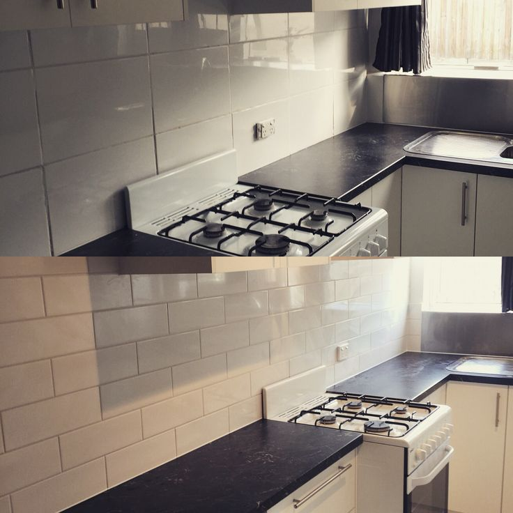 Before and after Kitchen Wall project. Finished with 100x300mm metro tiles