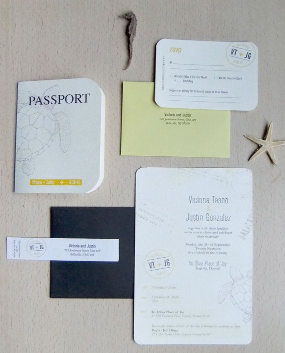 Inspired by a destination wedding, this passport wedding invitation is perfect for a beach nuptials. The outer card features a sea turtle with the bride and groom's names and wedding date. The card opens to reveal the all the details of the day. Tucked inside the passport booklet is a coordinating rsvp card. The cards are printed on cotton card stock giving them a distressed-natural look. _________________________________________________  WHAT YOU'LL RECEIVE  • Passport Booklet-Style…