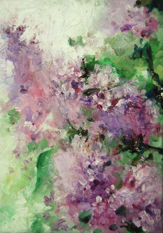 Original Oil Painting, Lilac Flowers Painting, Palette Knife Painting, Abstract Modern Painting Art