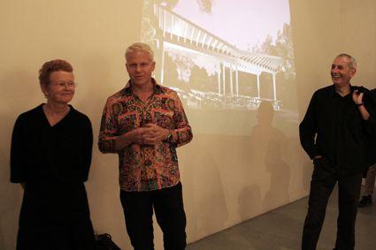 agps architects I les associés Sarah Graham, Manuel Scholl et Marc Angelil lors du vernissage à la galerie d'architecture, Paris