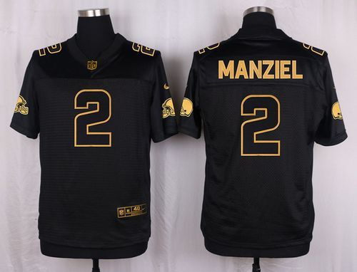 b5630859d69 ... Nike Browns 2 Johnny Manziel Black Mens Stitched NFL Elite Pro Line  Gold Collection Jersey ...