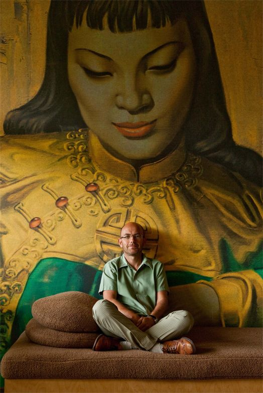 At home with Wayne Hemingway and his Lady of the Orient Surface View mural!
