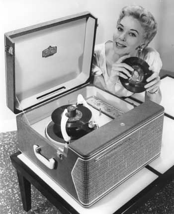"RCA portable phonograph, late 1950's.  I loved my ""record player"".  Got it for Christmas and I thought it was the best present ever!"