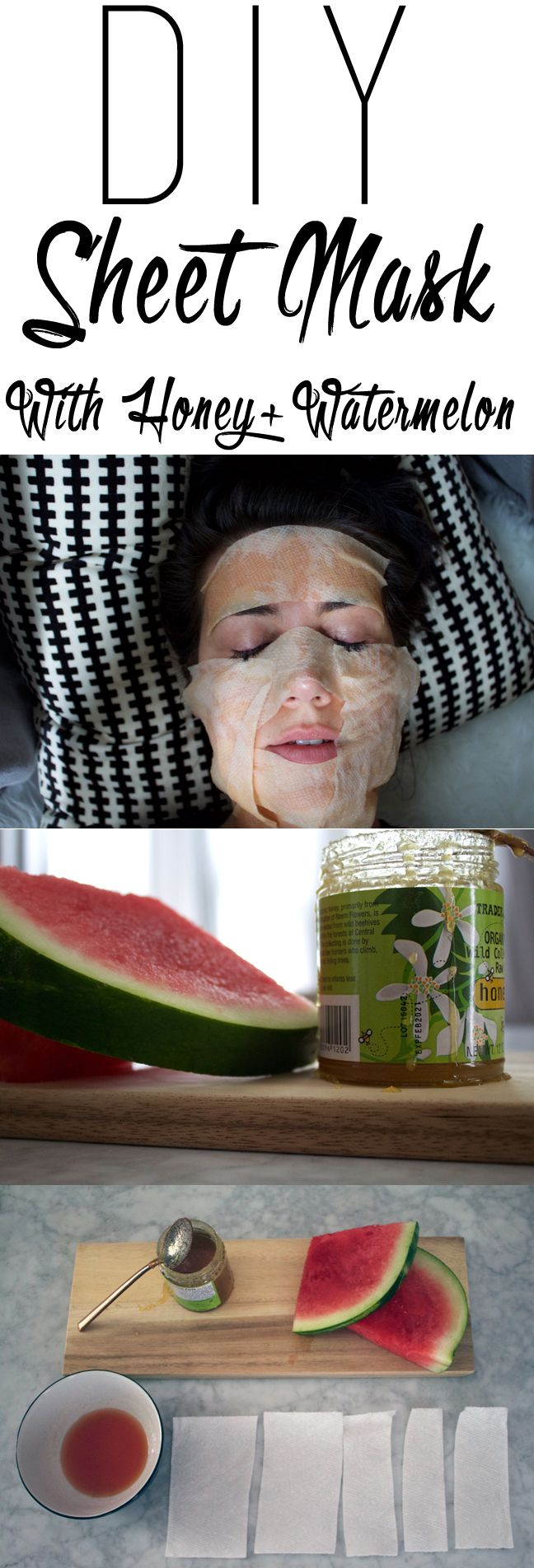 Easy DIY Sheet mask with watermelon and honey that you can make with things that you actually already have at home...yes seriously.