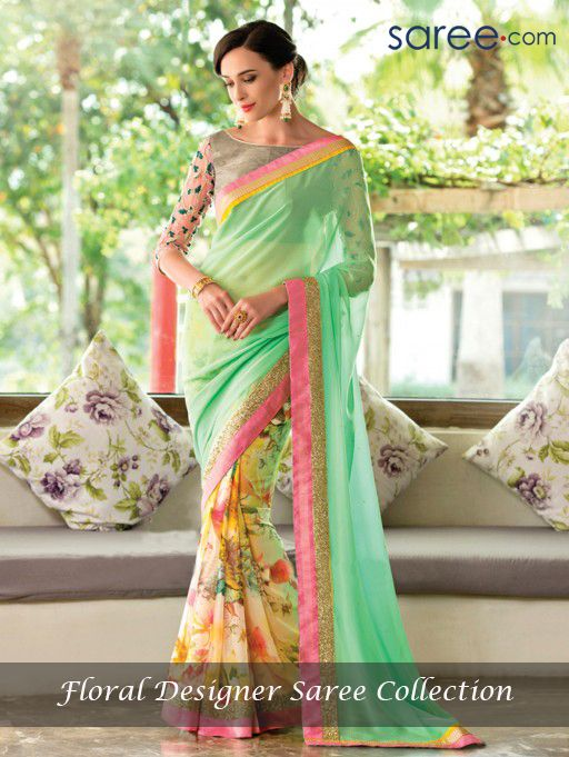 LIGHT GREEN AND MULTI COLOR PURE GEORGETTE SAREE WITH SEQUINS WORK