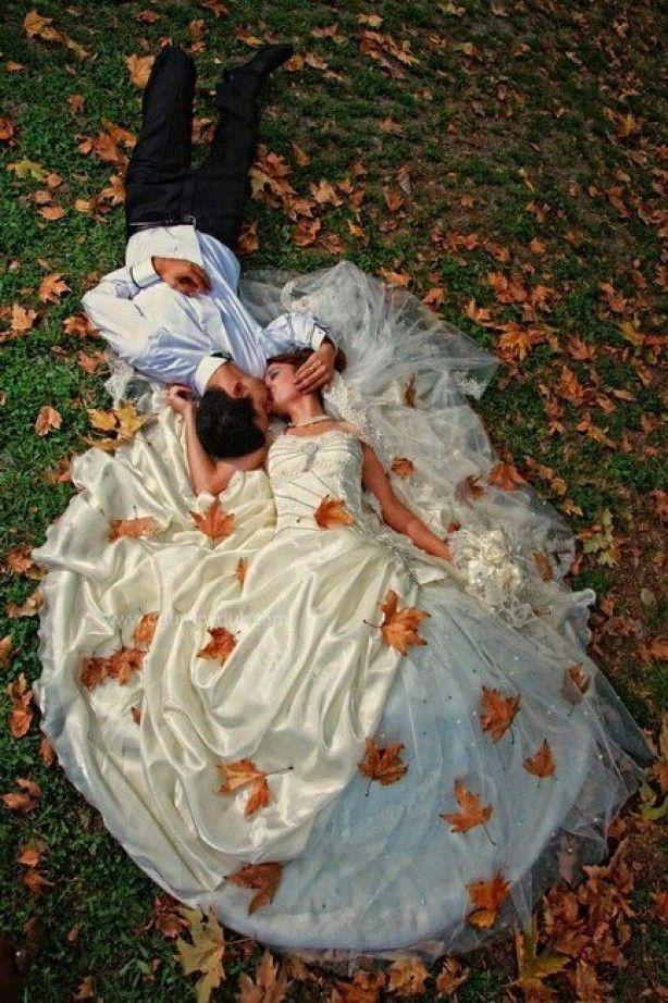 Mooie foto voor een herfst bruiloft kan ook met bloemen natuurlijk