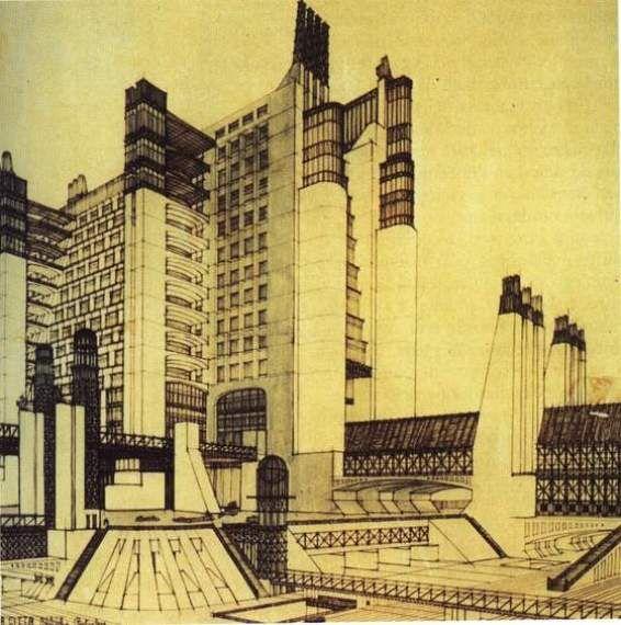 Futurist Architecture Drawing (Antonio Sant'Elia, 1914)