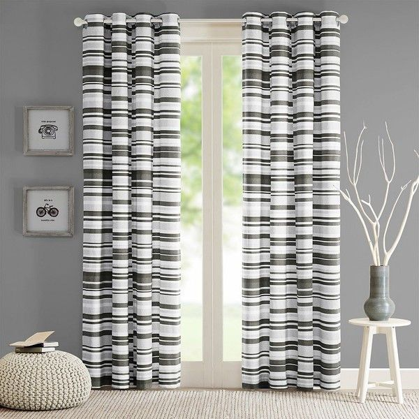 Intelligent Design Strider Cotton Stripe Printed Curtain featuring polyvore, home, home decor, window treatments, curtains, grey, grommet draperies, gray curtains, grey stripe curtains, cotton curtains and grey striped curtains