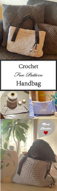 Crochet handbag in t-shirt yarn. Free Pattern