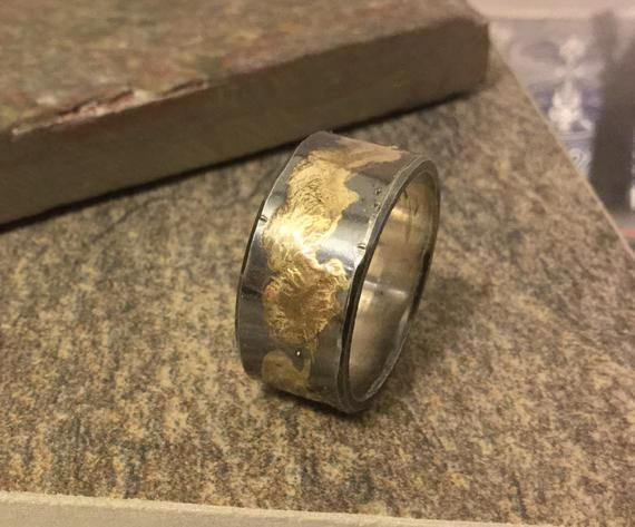 Mens Rustic Viking Gold On Sterling Silver Viking Ring Wedding Etsy In 2020 Silver Wedding Bands Men S Wedding Ring Sterling Silver Wedding Band