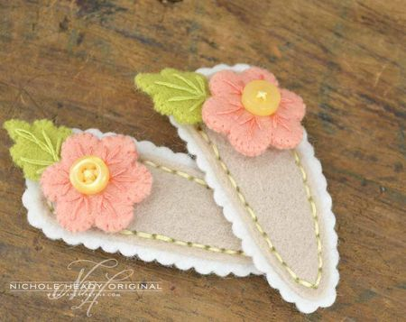diy barrettes | For the barrette bases, I die-cut the middle layer from Vintage Cream ...
