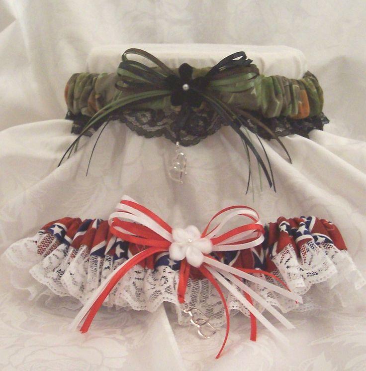 Rebel Flag/Realtree camo wedding garter set. $19.99, via Etsy.