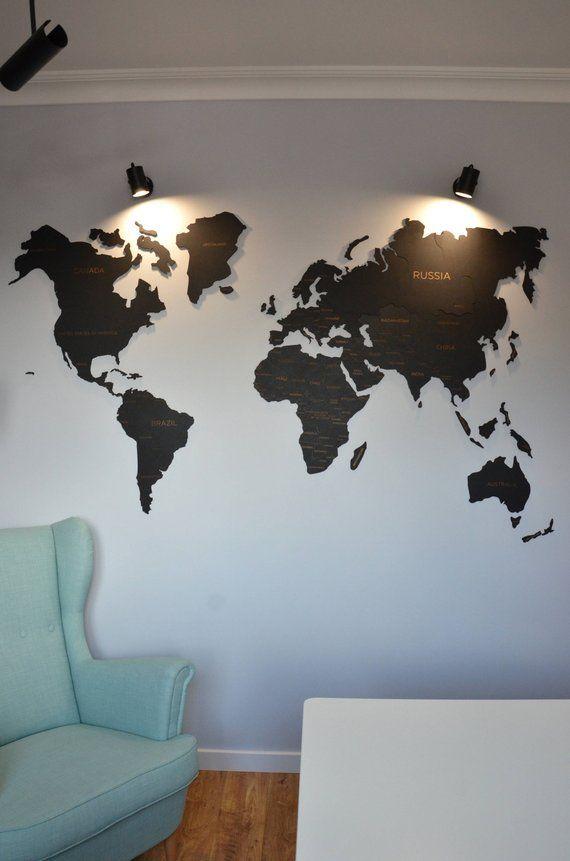 Black Wall Map Of The World Big Hanging Living Room Office Decor House Warming Honeymo