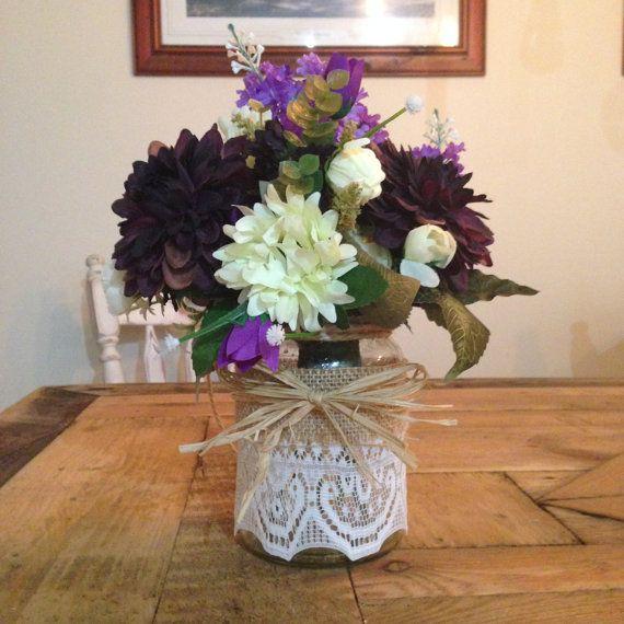 Wedding Decoration  Hanging Jar  Purple Flowers  by JessieLouise22