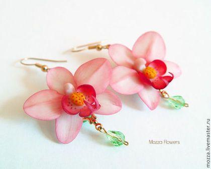 """Купить Серьги """"Розовые орхидеи"""". Полимерная глина. - розовый, серьги с орхидеями, розовые орхидеи"""
