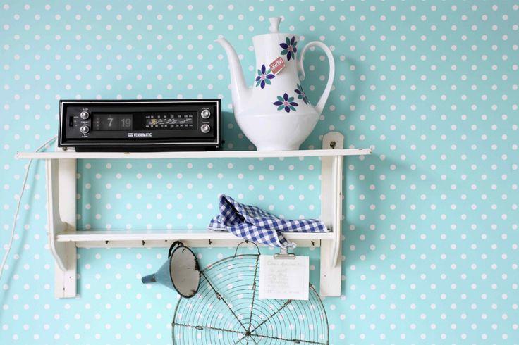 Tapete Rasch Textil Pretty Nostalgic Vliestapete 138103 Punkte blau weiß