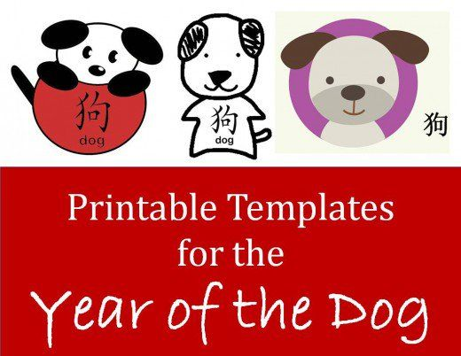 Printable templates for year of the dog  lots of ideas here, graphics to print an use in Chinese New Year projects -- can make into decorations, bookmarks, cards, etc.   Spring Festival, Lunar New Year, dogs, crafts, art, children, projects