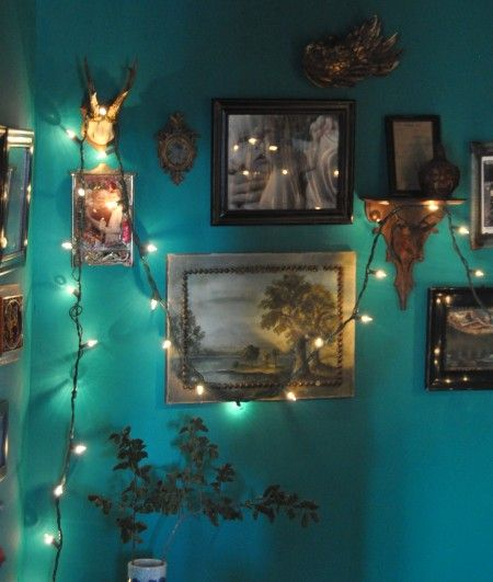 Fairy lights. I like the effect on this dark teal wall.