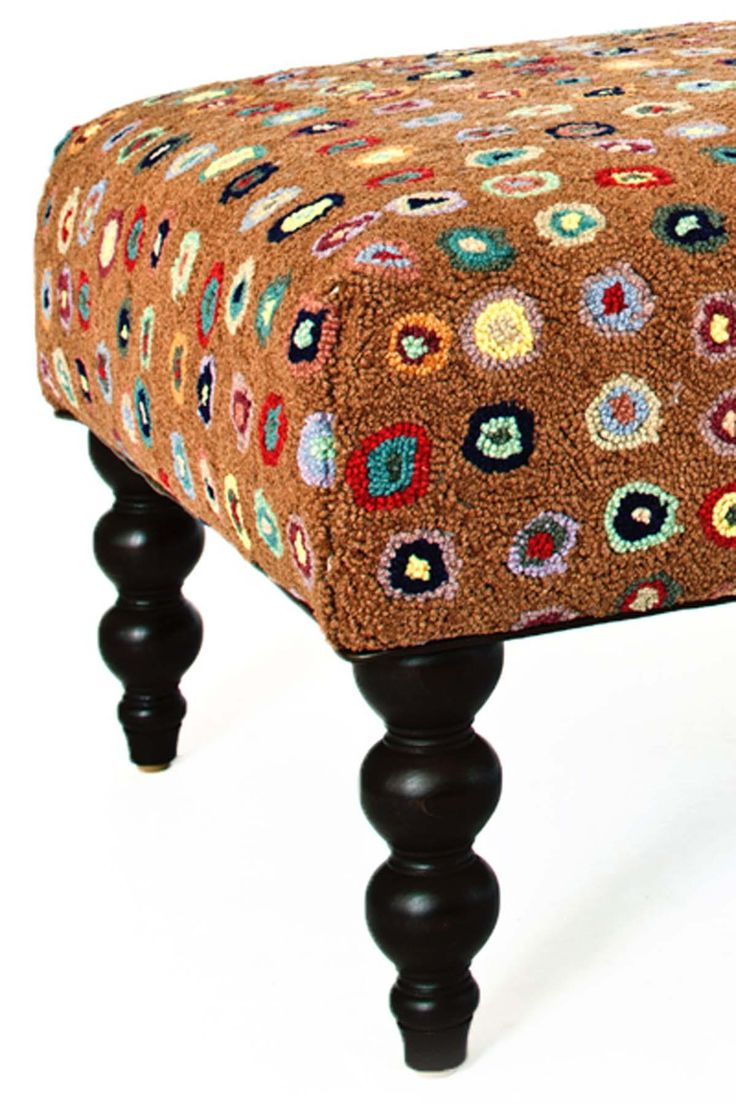 """$1125. Cat's Paw Brown Turned Leg Ottotman covered in hooked rug. 47""""x26""""x16""""h. free shipping. Get on the hot seat with our back-by-popular-demand rug ottomans, shipped for free! Cushioned bench topped with a smashing Dash & Albert wool hooked rug, with eye-catching turned wood legs. Free shipping for ottomans is only available in the contiguous U.S."""