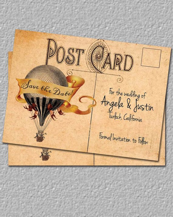 Vintage Hot Air Balloon Save The Date, Postcard Save The Date