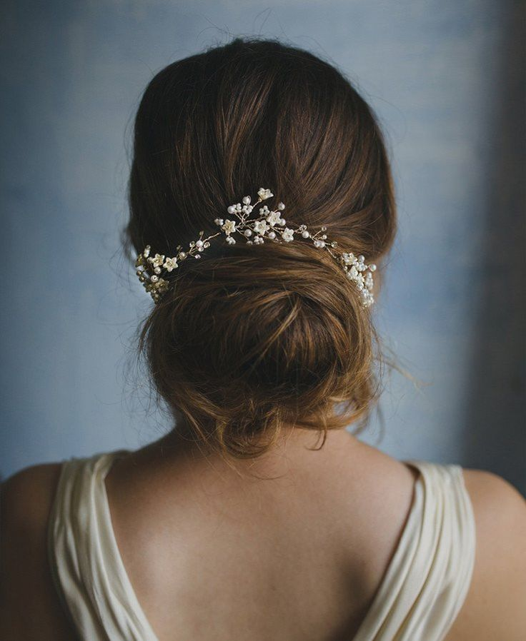 Floral beaded hair vine with pearled flower bells, style 349 _New 2017 collection of Elibre handmade| Photography: Nadia di Falco Photography www.fotografamatr..., Wedding dress: Oui cheri, Make up & hairstyle: Stefania Bon, Model: Elena Semenzato