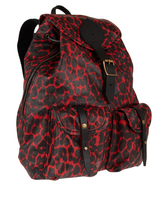 Red animal print backpack