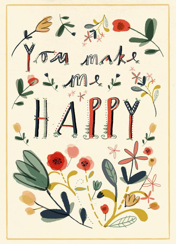 clair rossiter, lettering, design, colour, you make me happy, flowers, painting, ink, type, typography