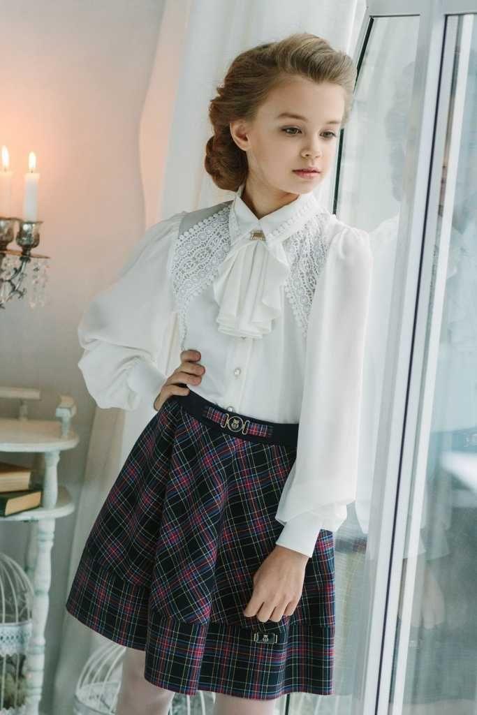 Нарядная блузка для девочки 173695 Молочный