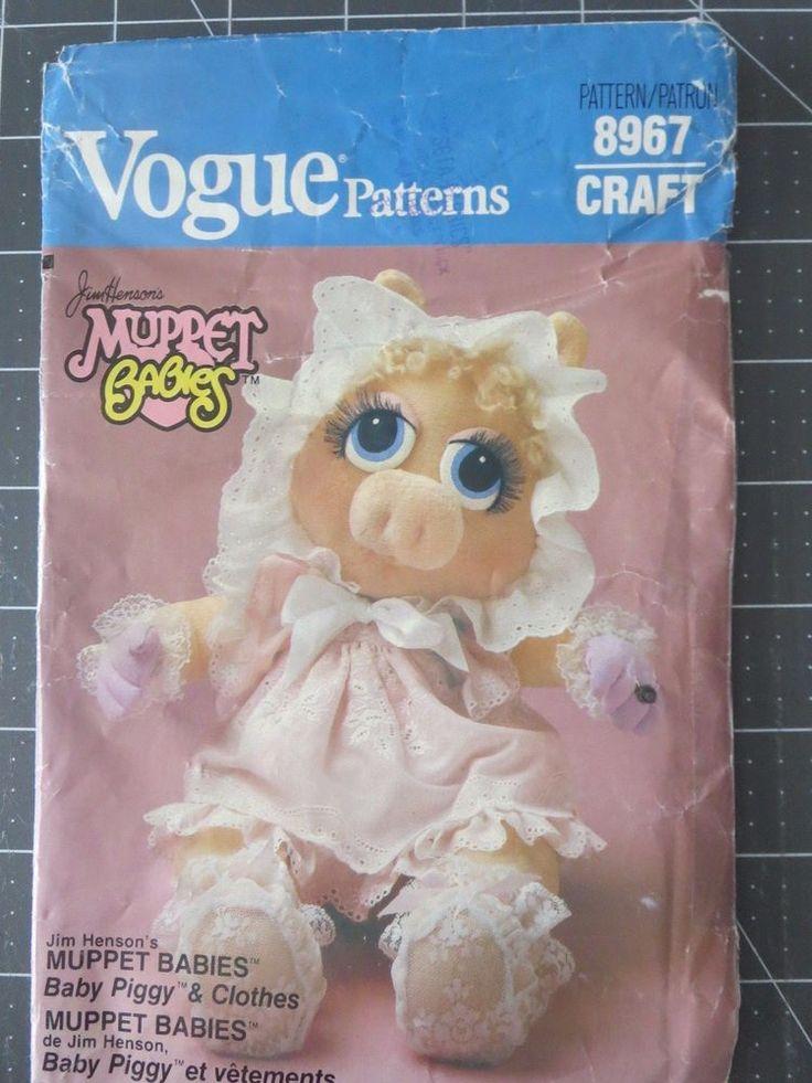 Vogue 8967 Miss Piggy Muppets babies by Jim Henson craft pattern #Vogue