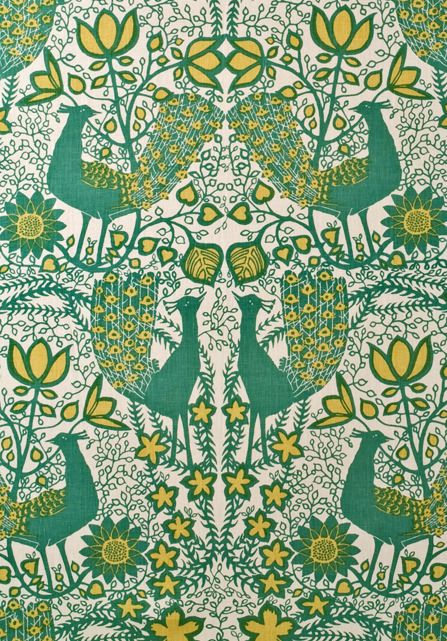 Agnes Wimborne Peacock fabric - a cushion for the proud peacock bedroom?