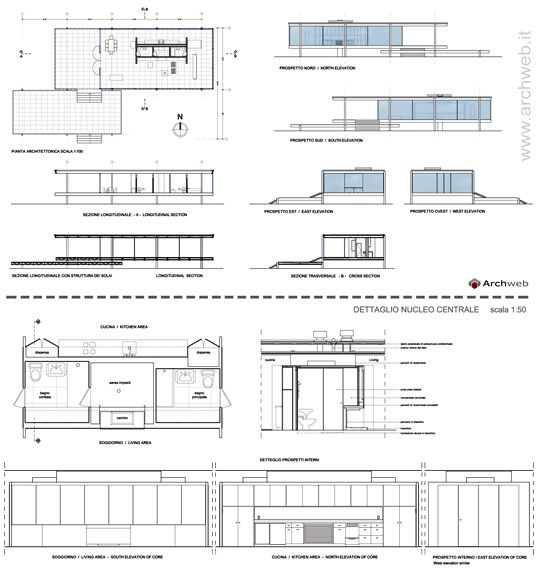 Farnsworth House dwg 2D Pianta del piano, Architettura