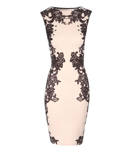 Jane Norman Lace print embellished bodycon dress, Nude