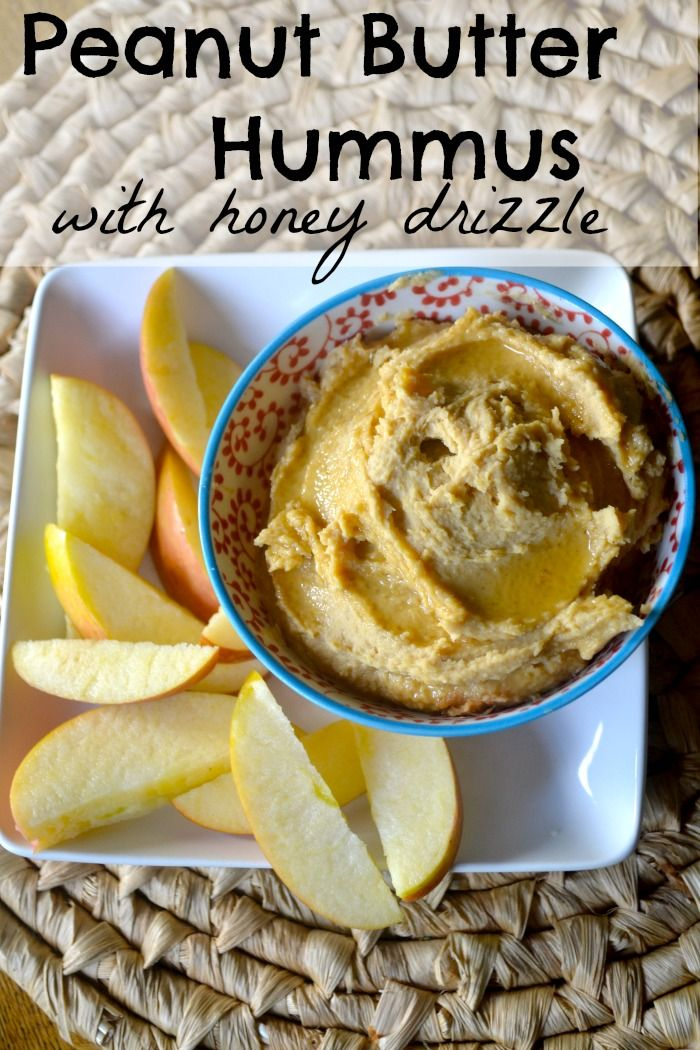 Peanut Butter Hummus with Apple Slices.  Kid Approved Healthy Snack!