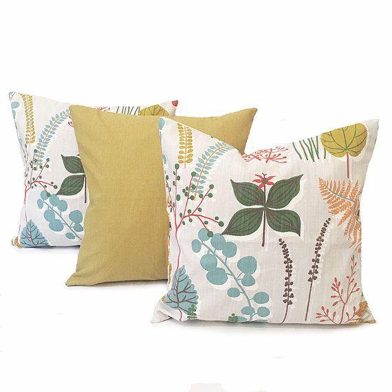 Kussen Set - NIEUWE-mosterd geel kussens - blauw kussen kussens - Cover Set - botanische kussens-Scandinavische kussens - bloemen kussens