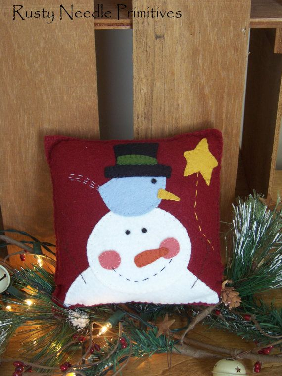 Wool Felt Appliqued Snowman Pillow by RustyNeedlePrimitive on Etsy, $9.00
