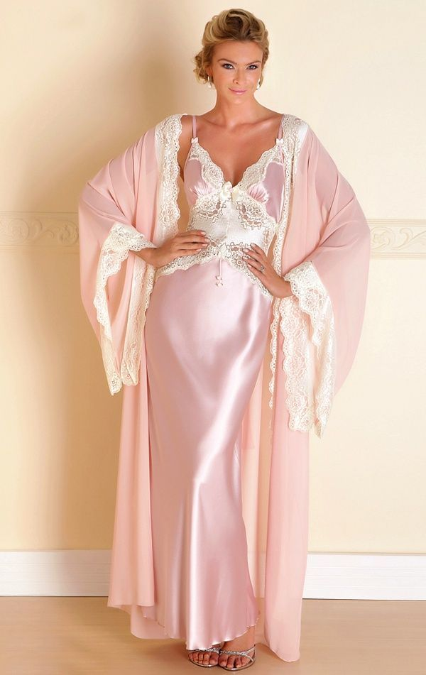 Pink Satin Nightgown And Matching Robe
