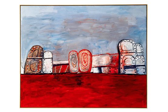 Philip Guston's 1978 painting 'Orders', 1978, sold at the 2012 Art Basel Art Fair for $ 6 million—in which the soles of upturned shoes look like prehistoric monuments.