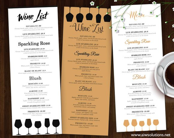 Wine List - Wine Menu by @Graphicsauthor